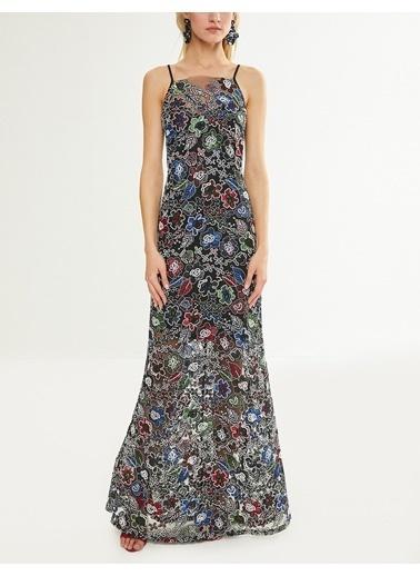 Askılı Çiçekli Uzun Abiye Elbise-Koton